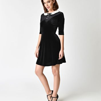 Hell Bunny Black Velvet & Snowy Collar Mini Dress