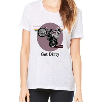 GET DIRTY Tshirt Motorcycle Stunt Girl Dirt Bike Tee Retro Vintage Style Vinyl T-Shirt All Sizes