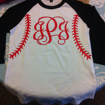 Baseball Softball Personalized Monogrammed Raglan Shirt