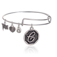 "Alex and Ani style  letter ""e"" pattern pendant charm bracelet,a perfect gift !"