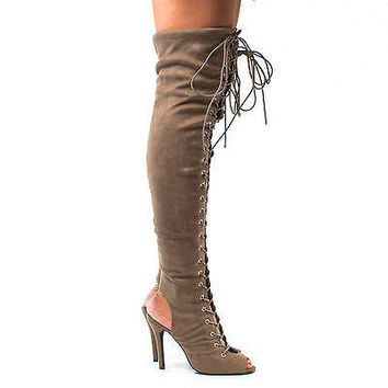 Randi23 Taupe Gunmetal F-Suede by Breckelle's, Corset Boots Thigh High Peep Toe Lace Up Stiletto High Heel Boots