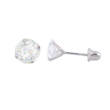 14k White Gold Stud Earrings Screw Backs CZ Cubic Zirconia Prong Set Round Clear