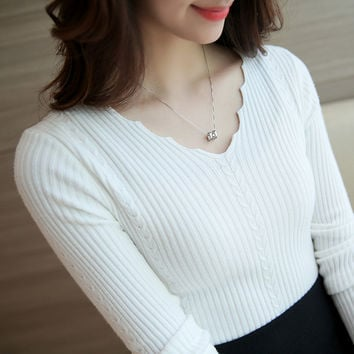 New Fashionable Autumn-Winter Plus Size Women V-Neck Collar Knitted Sweater Slim Casual High Elastic 6 Colors Pullover Sweater