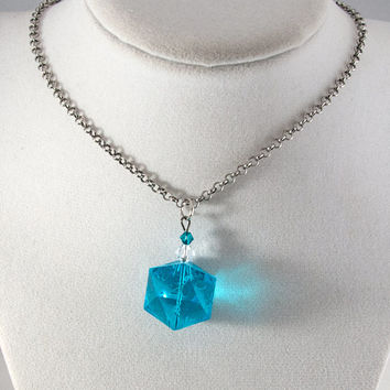 Aqua Gamescience D20 Dice Necklace - Polycarbonate Tabletop Gaming Jewelry with Crystal Accents