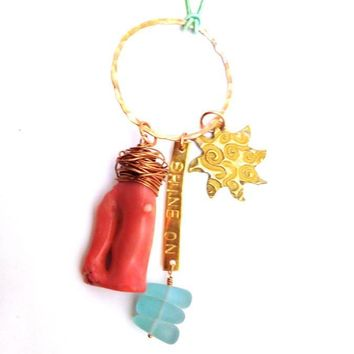 Pink and Turquoise Beach Inspired Dangle Necklace with Hammered Ring, Natural Pink Coral, Sea Glass, and Strawberry Quartz