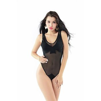 Hands Cup Mesh Monokini - Women's Black Swimsuit Bathing Suit