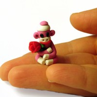 Pink Tiny Sock Monkey With Red Valentine Rose In Polymer Clay