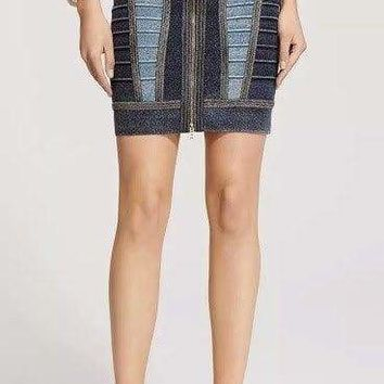 Blue Multi Bandage Denim Mini Skirt