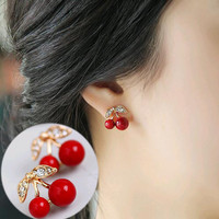 2016 New Fashion Lovely Red cherry earrings rhinestone leaf bead stud earrings for woman jewelry