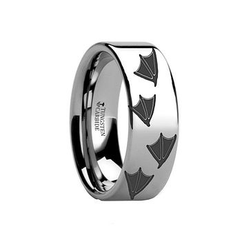 Animal Design Ring - Duck Track Print -  Laser Engraved - Flat Tungsten Ring - 4mm - 6mm - 8mm - 10mm - 12mm