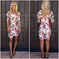 Paulette Floral Asymmetrical Dress