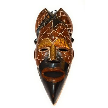 "18"" African Wood Mask: Brown and Black"