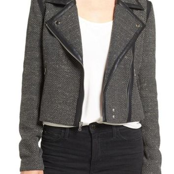 PAIGE | Telma Faux Leather Trim Moto Jacket | Nordstrom Rack