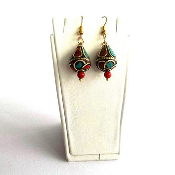 Nepal Earrings , Mother's Day Gifts, Ethnic Earrings , Turquoise and Coral earrings , Tribal , Tibet Beads , Handmade Nepal Jewelry,