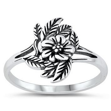 Flower and Leaves Sterling Silver Ring