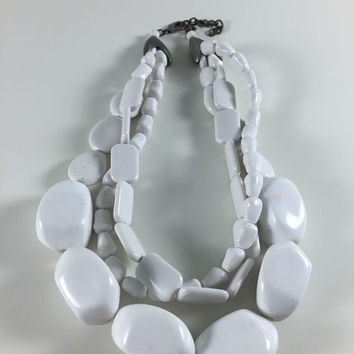 Vintage Retro Costume Jewelry Necklace White And Silver Toned Chunky Beads Mod Three Strand Necklace 1960's 1970's