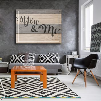 You & Me Couples Canvas Wall Art Home Decor, Romantic Quote