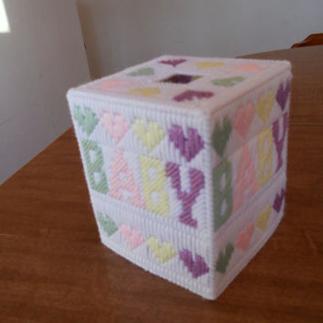 Plastic Canvas Tissue Box Cover for Baby