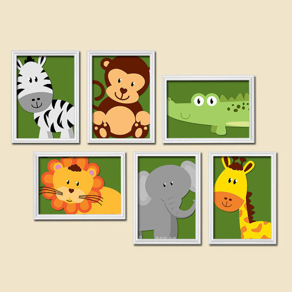 Boy Animal Nursery Wall Art Jungle Safari Baby Bedroom Decor Print Set Of 6