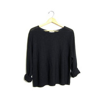 Simple Black Long Sleeve Shirt Sheer Boxy Scoop Neck Blouse Slouchy Top Grunge Basic Knit Blouse