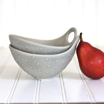 Pottery Bowl - Soft Gray Polka Dot Bowl with Handle - Noodle Bowl