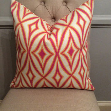 Handmade Decorative Pillow Cover - Waverly - Sun N Shade - Pink - Orange - Indoor Outdoor