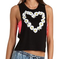 DAISY HEART GRAPHIC MUSCLE TEE