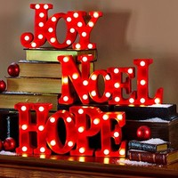 Lighted Holiday Christmas Marquee Signs Shelf Mantle Table Top Red Noel Hope Joy