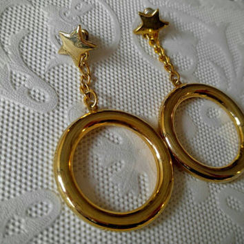 Vintage Gold Dangle Earrings with Hoops and Stars
