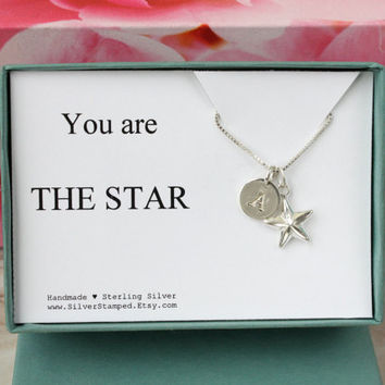 You are the star - gift for graduate - graduation gift - jewelry gift box sterling silver necklace personalized initial charm and star