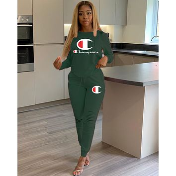 Champion Women Fashion Letter Pullover Sweater Pants Set Two-Piece green