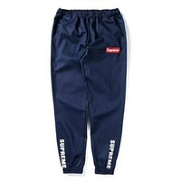 Supreme Fashion Unisex Leisure Embroidery Logo Sport Running Pants Trousers Sweatpants Blue I-CN-CFPFGYS