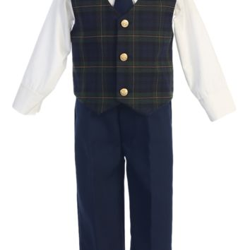(Sale) Boys 12-18 Months Holiday Dresswear Set with Green Plaid Vest & Navy Pants