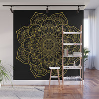 Golden Yellow Mandala Wall Mural by allisone