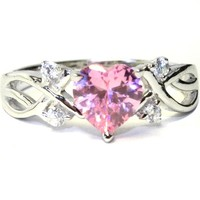 Pink Heart Shaped Promise Ring – Pink Cubic Zirconia