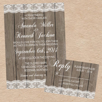 Elegant Vintage Lace Wooden Wedding Invitation and Response Card- Custom DIY Printable