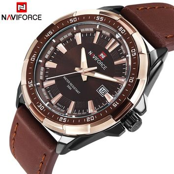 NAVIFORCE NF9056B Waterproof Quartz Military Leather Sports Watch