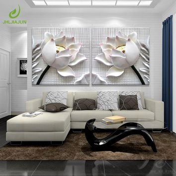 Modular Pictures 3D Art Lotus Poster Wall Art Modular Paintings For The Kitchen Wall Pictures For Living Room Canvas Painting