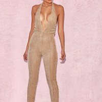 Clothing : Jumpsuits : 'Tabby' Gold Lurex Semi Sheer Jumpsuit & Pants