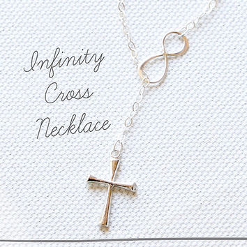 Sterling Silver Infinity Cross Necklace, Lariat, Infinite Love, Faith, Infinity Cross Necklace, Cross Necklace