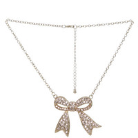 Rhinestone Bow Necklace | Shop Jewelry at Wet Seal