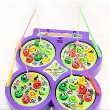 ICIK272 2014 New Child Kid Educational Toy Electric Rotating Magnetic Magnet Fish Go Fishing Game radom color