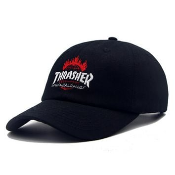 Thrasher New fashion embroidery letter couple cap hat Black