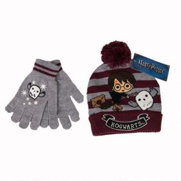 Harry Potter and Hedwig Striped Knit Beanie & Glove Set | HarryPotterShop.com