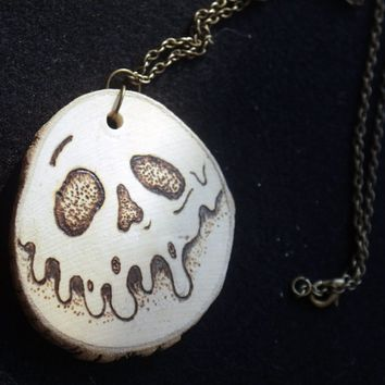 OOAK Snow White Poison Apple Wood Burn Necklace Disney Inspired
