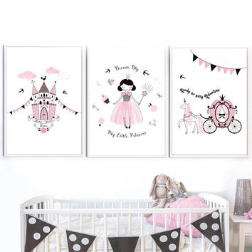 Magic Little Princess Nordic Poster And Prints Wall Art Canvas Painting Wall Pictures For Kids Bedroom Baby Girl Room Home Decor