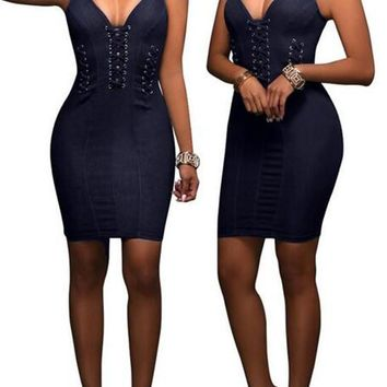 Streetstyle  Casual Sapphire Blue Plain Cut Out Zipper Backless Sleeveless Bodycon Denim Mini Dress