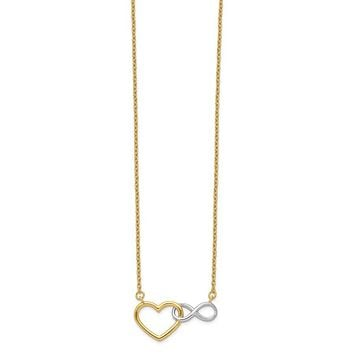 14k Yellow Gold & White Rhodium Heart Infinity Necklace