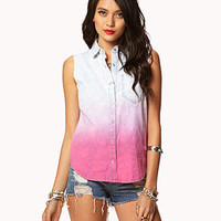 Frayed Ombré Chambray Shirt | FOREVER 21 - 2000050026