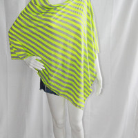 Neon Striped Poncho/ Nursing Cover/ Nursing Shawl/ One shoulder Top/ Lightweight Wrap/ Cover up/ New Mom Gift